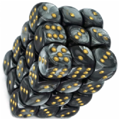 Black & Gold Lustrous 12mm D6 Dice Block